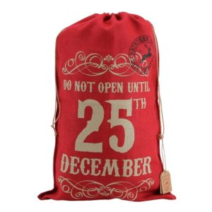 'Do Not Open Until 25Th December' Red Hessian Sack'Do Not Open Until 25Th December' Red Hessian Sack