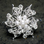 Silver Brooch With Pearls And Diamante 60mm