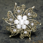Vintage Gold Brooch With Pearls And Diamante 60mm