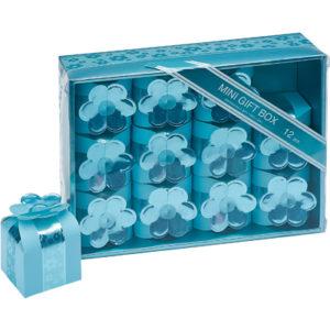 12 Mini Blue Square Favour Boxes With Flower (40 x 40 x 40mm)12 Mini Blue Square Boxes With Flower