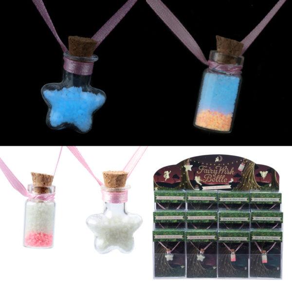 Cute Glow in the Dark Fairy Wish Bottle Necklace