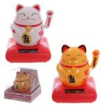 Cute Waving Maneki Neko Cat Design Solar Pal