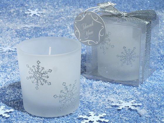 Winter Wonderland Glitter Snowflake Frosted Glass Votive Candle Tea-light Holder