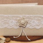 Rustic Collection Burlap And Lace Wedding Guest Book With Flower Design 50 PagesRustic Collection Burlap And Lace Guest Book