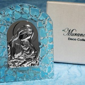 Blue Murano Art Deco Collection Arch Madonna Religious Glass IconMurano Art Deco Collection Arch Glass Icon