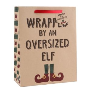 Large 'Wrapped By An Oversized Elf' Christmas Gift BagLarge 'Wrapped By An Oversized Elf' Gift Bag