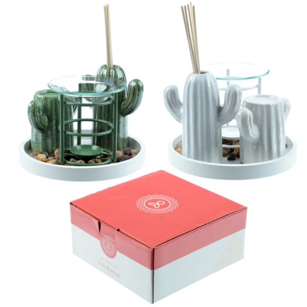 Eden Aroma Set – Metal Oil Burner  and  Ceramic Cactus Diffuser