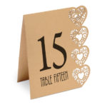 Heart Laser Cut Design Wedding Table Numbers 1 to 15 Kraft BrownHeart Design Table Numbers 115 Kraft Brown