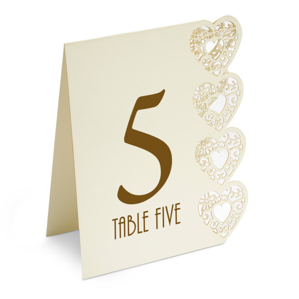 Heart Laser Cut Design Wedding Table Numbers 1 to 15 Ivory