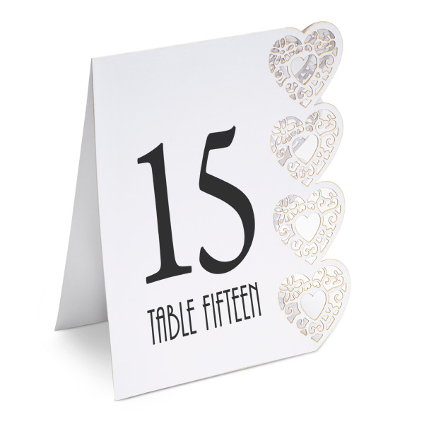 Heart Laser Cut Design Wedding Table Numbers 1 to 15 White