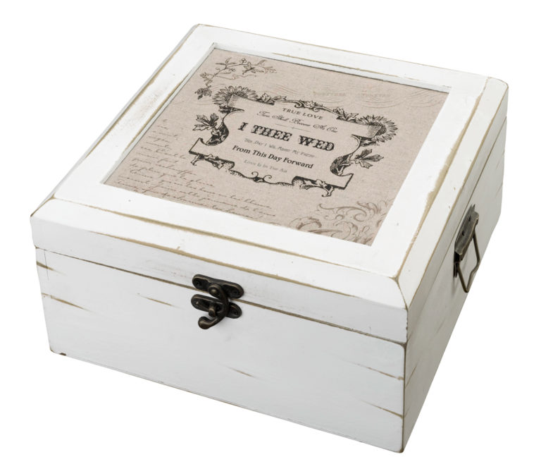 Antique White Wedding Card Box True Love