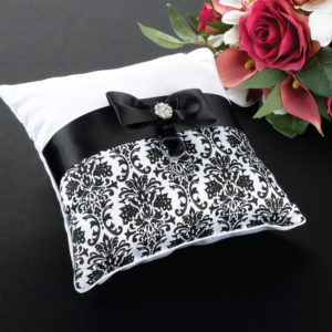 Black Damask Wedding CushionBlack Damask Pillow