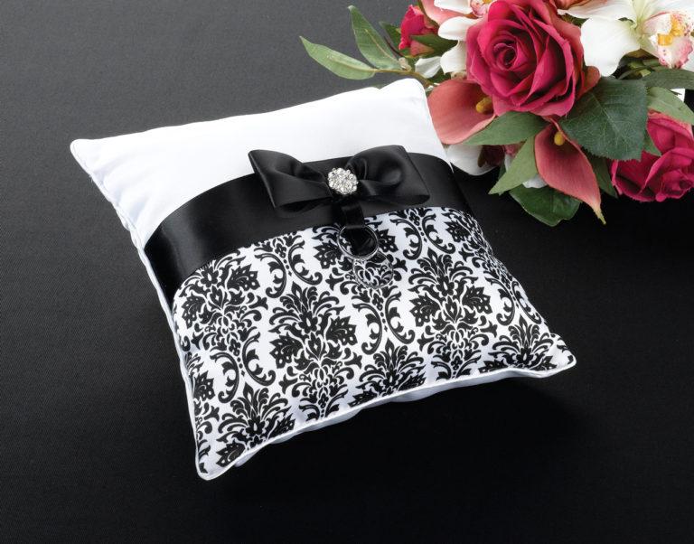 Black Damask Wedding Cushion