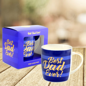 Best Dad Ever Blue Stripe Mug With Gold WritingBest Dad Ever mug