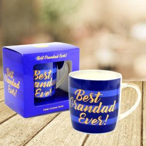 Best Grandad Ever Blue Stripe Mug With Gold WritingBest Grandad Ever Mug