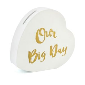 White Our Big Day Heart Money Box With Gold TextOur Big Day Heart Money Box