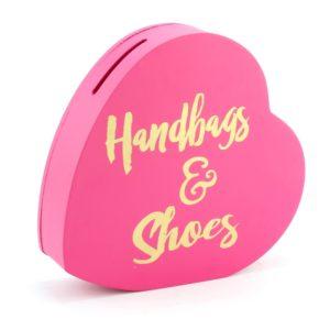 Handbags & Shoes Heart Pink Money BoxHandbags & Shoes Pink Money Box