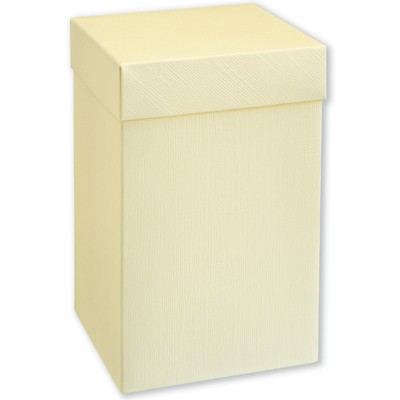 Ivory Silk Square Box With Lid (120x120x190mm)