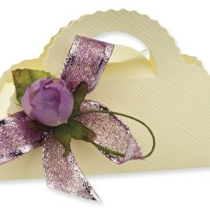 Ivory Silk Handbag Box (100x40x60mm)Ivory Silk Handbag Box