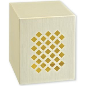 Ivory Silk Perforated Square Box (120x120x145mm)Ivory Silk Perforated Square Box