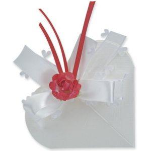 White Silk Heart Box 65x15mmWhite Silk Heart Box