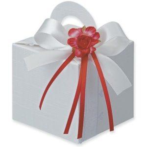 White Silk Square Box With Handle 65x65x60mmWhite Silk Square Box With Handle