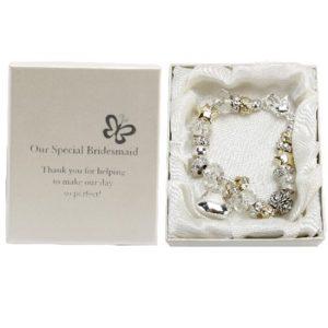 Amore Wedding Silver Gold Bead Charm Bracelet 'Bridesmaid'Amore Silver Gold Bead Charm Bracelet Bridesmaid