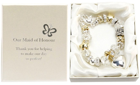 Amore Wedding Silver Gold Bead Charm Bracelet 'Maid of Honour'Amore Silver Gold Bead Charm Bracelet Maid of Honour