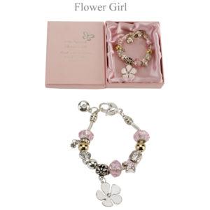 Amore Wedding Silver Pink Bead Charm Bracelet 'Flower Girl'Amore Silver Pink Bead Charm Bracelet Flower Girl