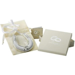 Amore Wedding Silver Plated Horse Shoe With Icon, Crystal And RibbonAmore Silver Plated Horse Shoe With Icon, Crystal And Ribbon