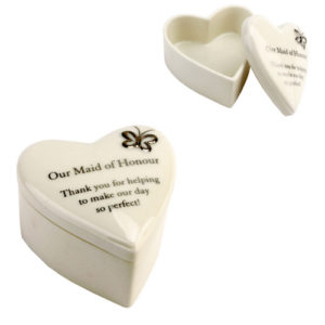 Amore Wedding Porcelain Heart Trinket Box Our 'Maid of Honour'Amore Porcelain Heart Trinket Box Our Maid of Honour