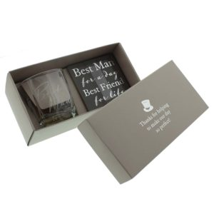 Amore Wedding Whisky Glass and Coaster set Best ManAmore By Juliana Whisky Glass And Coaster Best Man