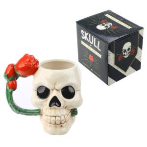 Fantasy Skull and Rose Shaped Handle Ceramic Mug