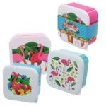 Fun Flamingo Design Set of 3 Plastic Lunch Boxes