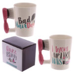Fun Hair Brush Shaped Handle Ceramic Mug