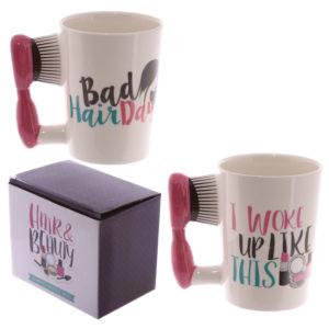 Fun Hair Brush Shaped Handle Ceramic Mug