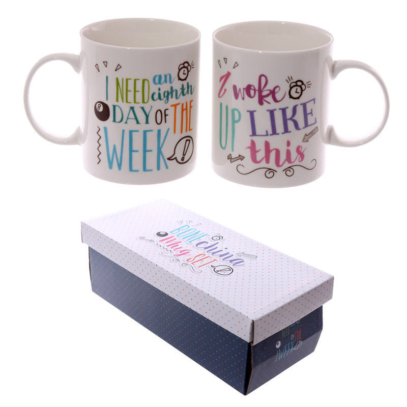 Fun New Bone China Mug – Slogans Set of 2