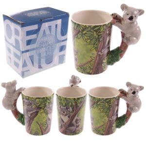 Novelty Ceramic Jungle Mug with Koala Shaped Handle