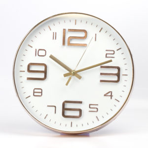 White Embossed Rouan Copper ClockWhite Embossed Rouan Copper Clock