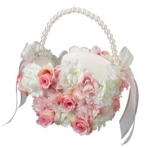 Pink & White Floral Flower Girl BasketPink & White Floral Flower Girl Basket