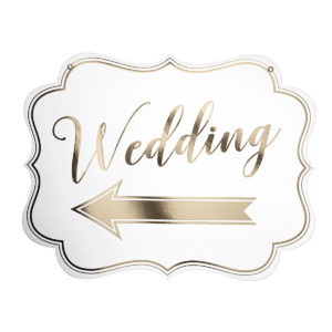 White & Gold Arrow Wedding SignWhite & Gold Arrow Wedding Sign