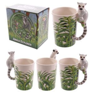 Novelty Ceramic Jungle Mug with Lemur Shaped Handle