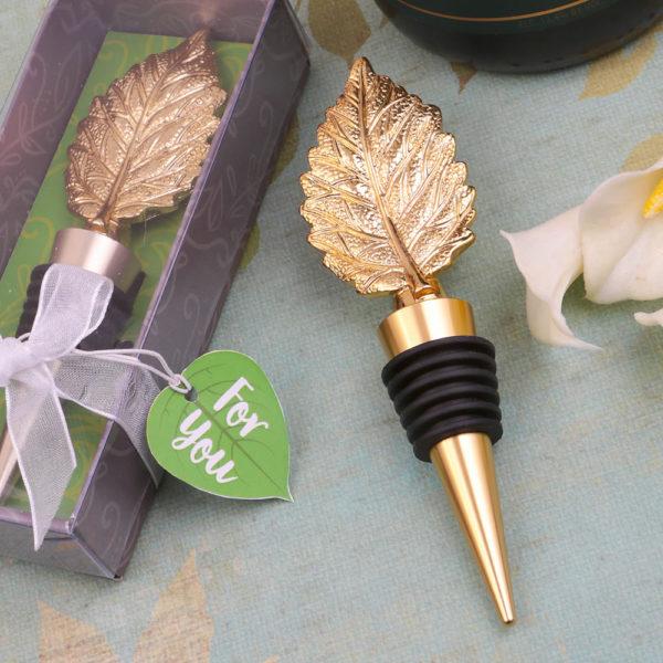 Gold metal leaf design bottle stopper