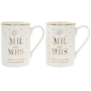 Mad Dots Mr and Mrs Wedding Day Mugs Set of 2Mad Dots Mr and Mrs Wedding Day Mugs Set of 2