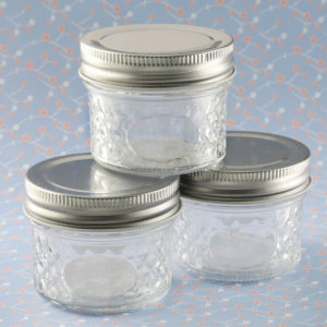 Perfectly Plain Collection crystal mason jelly jar with quilted embossed designPerfectly Plain Collection crystal mason jelly jar with quilted embossed design