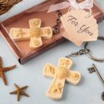 Beach themed cross key chain