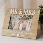 "Love Story MDF Photo Frame Mr & Mrs 7"" x 5""Love Story MDF Photo Frame Mr & Mrs 7"" x 5"""