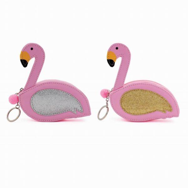 Assortment of 2 Pink Flamingo Purse Keyring