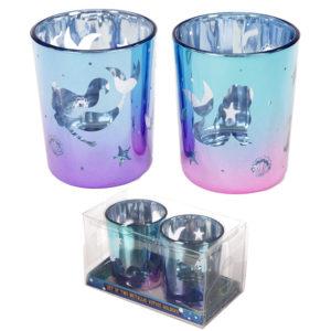Glass Candleholder Set of 2 - Mermaid Design