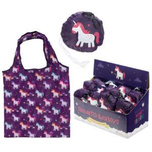 Handy Fold Up Rainbow Unicorns Shopping Bag with Holder